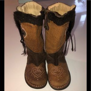 Primigi brown suede boots heart 29 11.5 leather